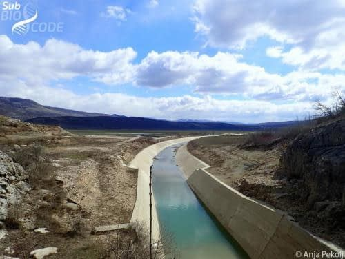 Water channel on Fatničko polje, which will be used for hydropower plants that are planned in the Trebišnjica river catchment.